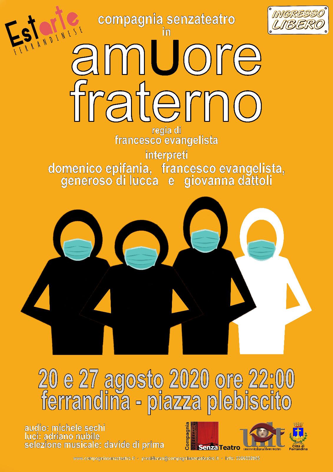 20 agosto 2020- Ferrandina (MT) amUore Fraterno ore 22.00 P.zza Plebiscito